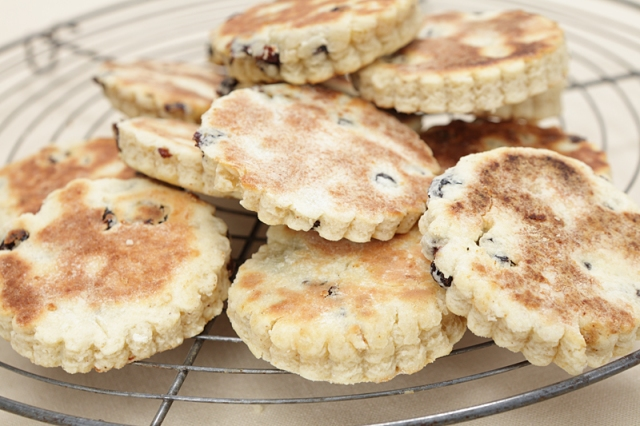Welsh cakes on a rack